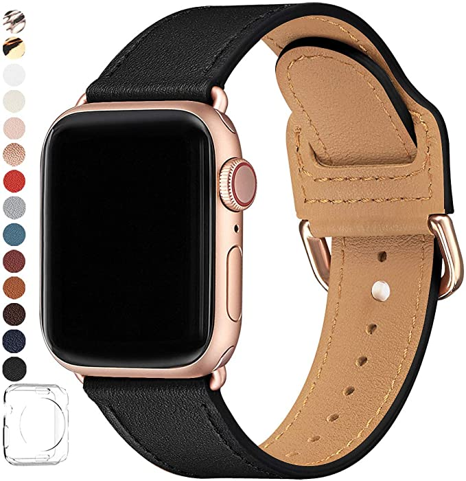 POWER PRIMACY Bands CompaPOWER PRIMACY Bands Compatible with Apple Watch Band 38mm 40mm 42mm 44mm, Top Grain Leather Smart Watch Strap Compatible for Men Women iWatch Series 6 5 4 3 2 1,SE(Black/Rosegold, 42mm/44mm)