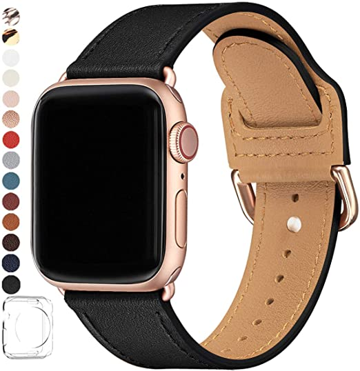 Amazon Com Power Primacy Bands Compatible With Apple Watch Band 38mm 40mm 42mm 44mm Top Grain Leather Smart Watch Strap Compatible For Men Women Iwatch Series 6 5 4 3 2 1 Se Black Rosegold 38mm 40mm