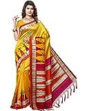 e-VASTRAM Women's Mysore Art Silk Printed Saree With Tassel/Kutch(RIMZIMY_Yellow)