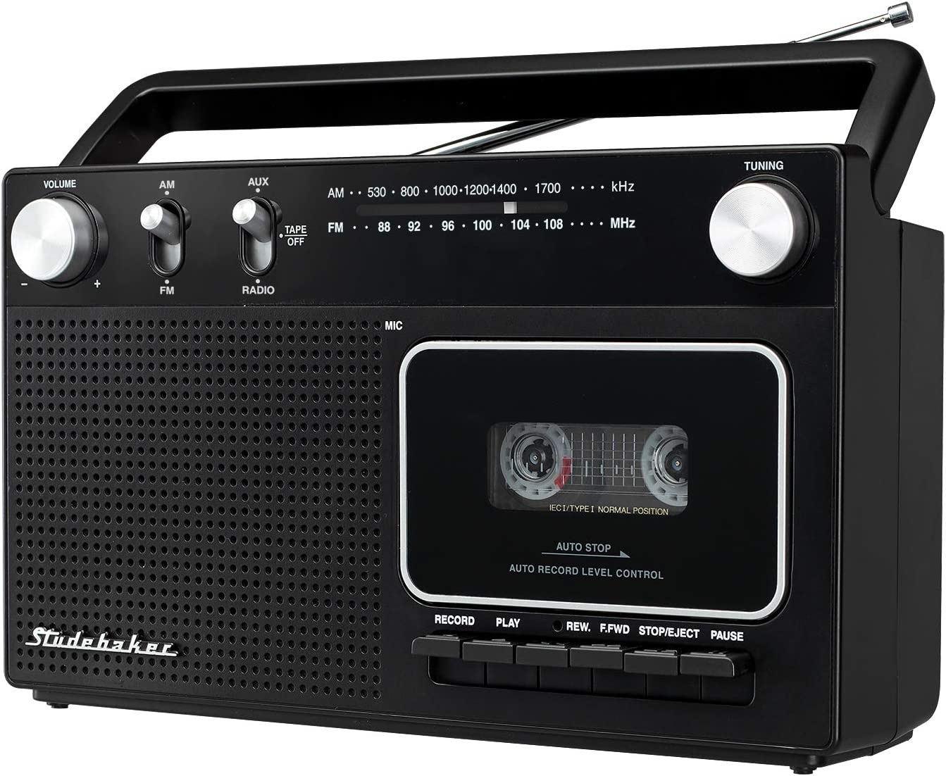 Studebaker Portable Retro Home Audio Stereo AM/FM Radio & Cassette Player/Recorder with Aux Input Jack & Built in Speakers (Silver)