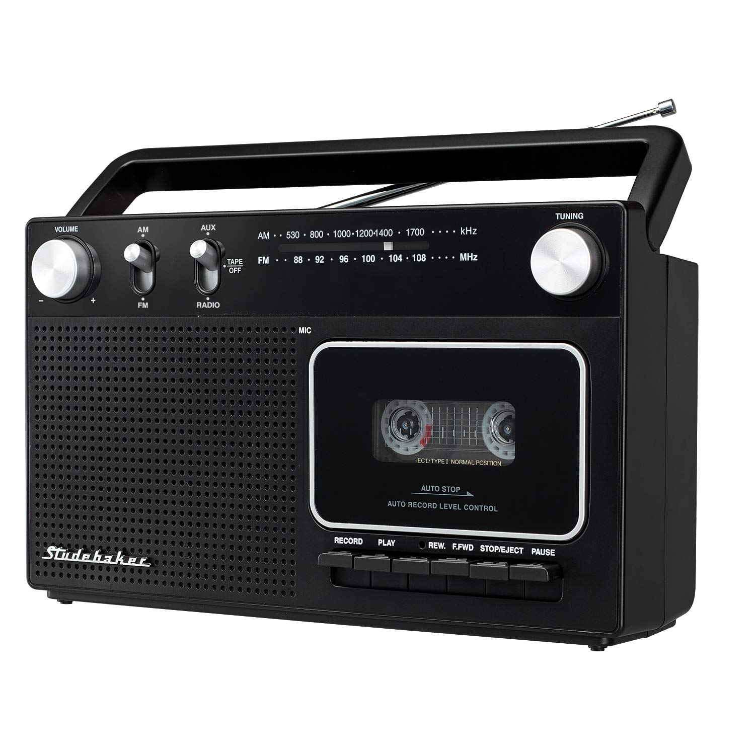 Studebaker Portable Retro Home Audio Stereo AM/FM Radio & Cassette Player/Recorder with Aux Input Jack & Built in Speakers (Silver) by Studebaker (Image #1)