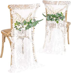 Ling's Moment Wedding Chair Signs Wedding Reception Chair Decor Bride and Groom Chair Signs Set of 2, Floral Wedding Decorations Rustic Boho
