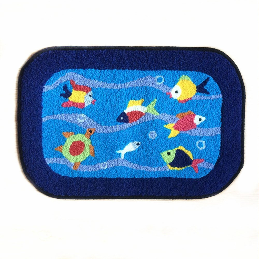 Blue Fish Rug Handmade Bath Mat Animal Rugs for Kids Washable Doormats Ustide