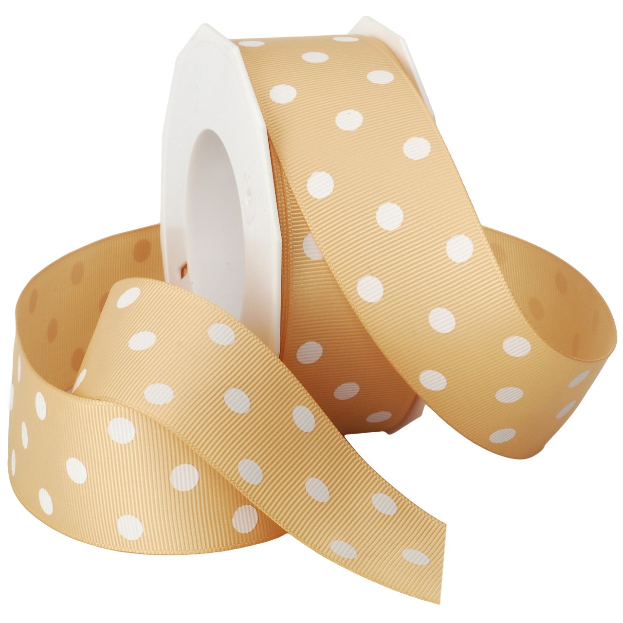 Morex Grosgrain Dot Ribbon, 1-1/2-Inch by 20-Yard Spool, Light Pink with White Dots 3908.38/20-123
