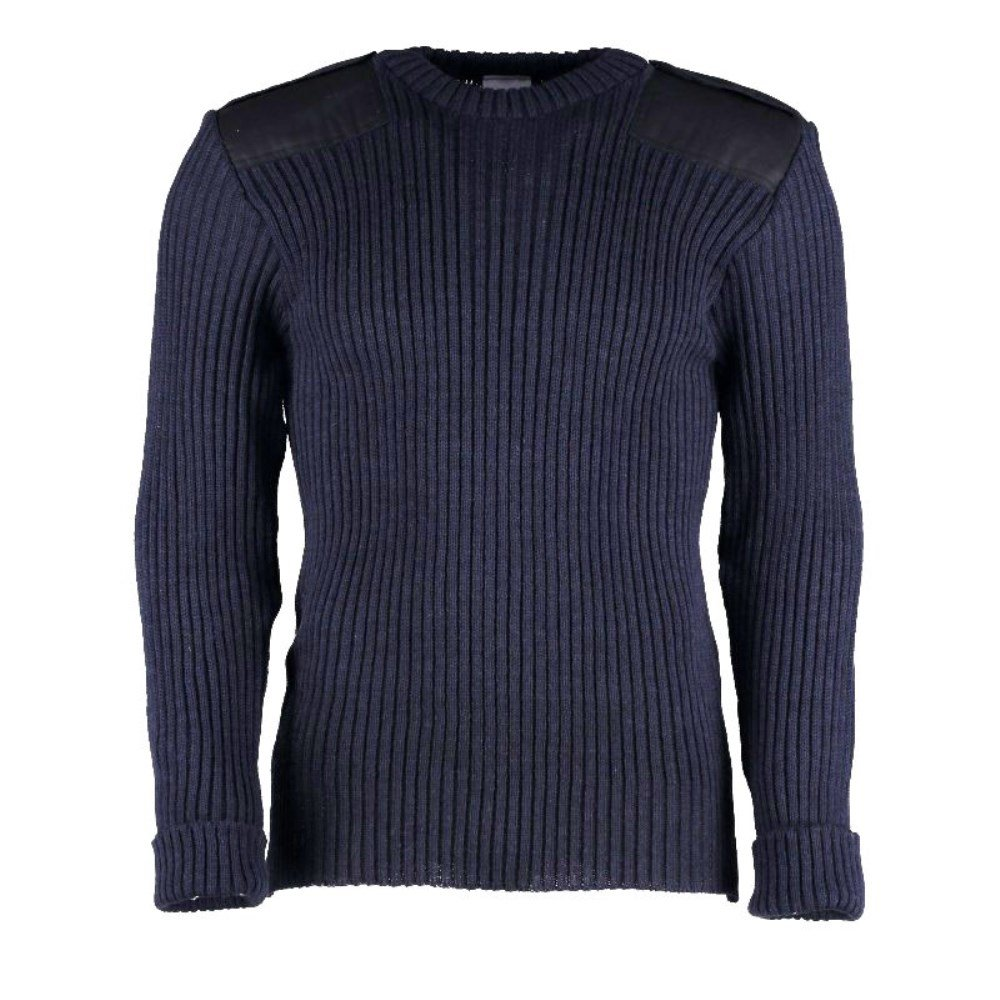 British Commando Sweater Woolly Pully Crew Neck with Epaulets