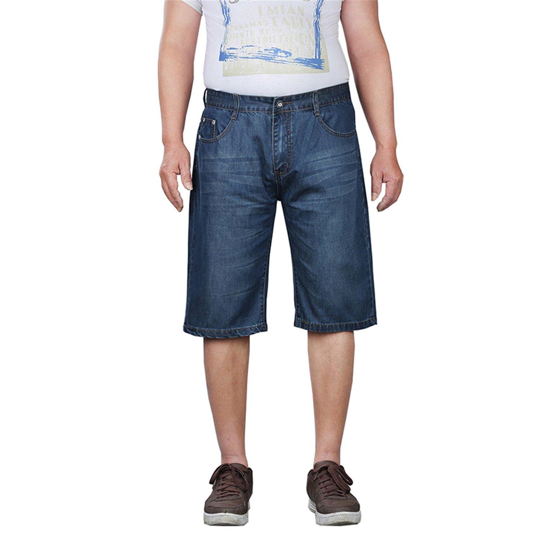 Frozac Plus Size 30-52 Men Thin Jeans Shorts Summer Classic Casual Cotton Stretch Beach Bermuda Baggy Denim Trouser