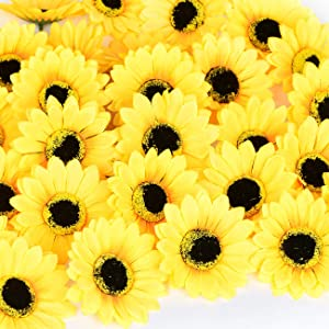 "KINWELL 50pcs Large Artificial Silk Yellow Sunflower Heads 4"" Fabric Floral for Home Decoration Wedding Decor, Bride Holding Flowers,Garden Craft Art Decor"