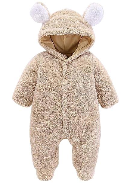 6e0c08c91c195 Amazon.com: SFHFY Newborn Baby Boys Girls Winter Cartoon Hooded Jumpsuit  Romper Warm Fleece Overalls Onesies: Clothing