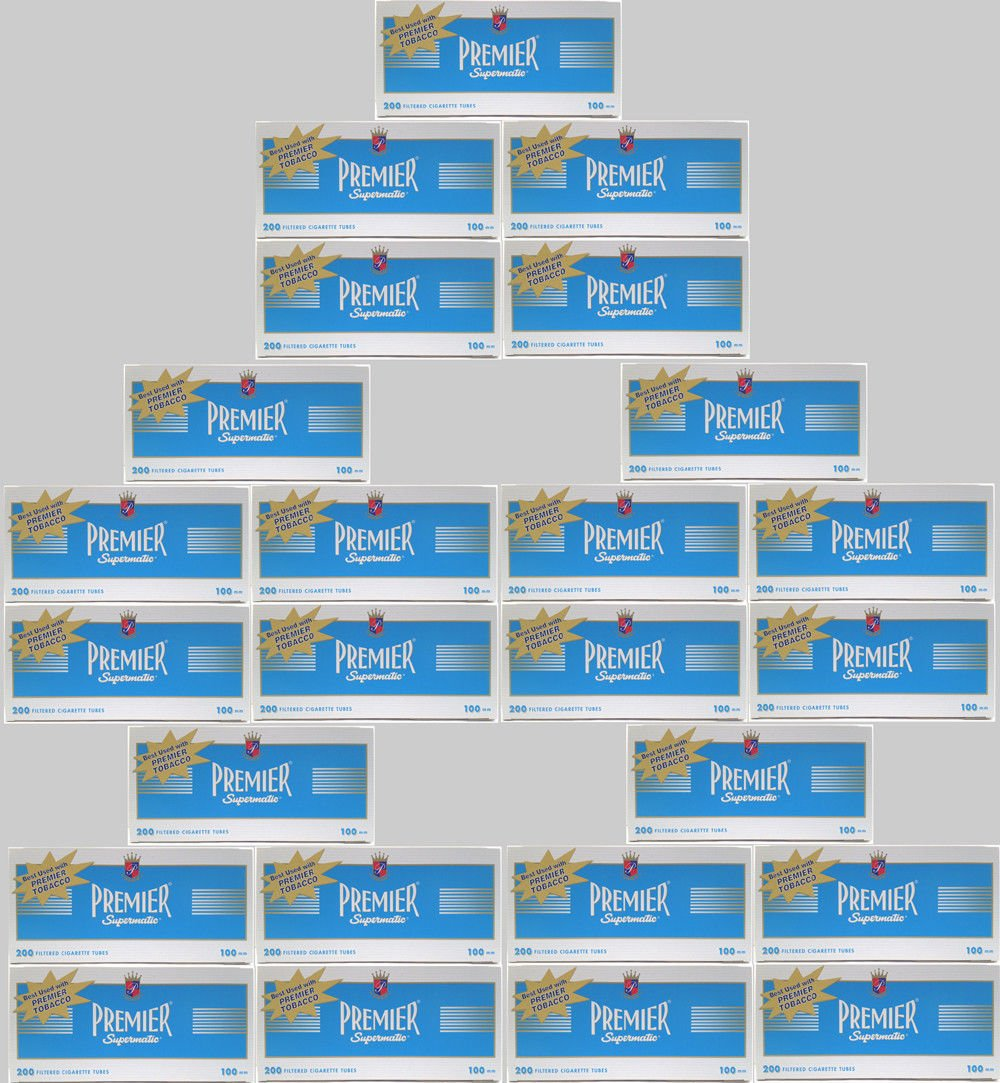 (50) Fifty Boxes of Premier Supermatic Light - King Size Cigarette Tubes - FULL CASE!