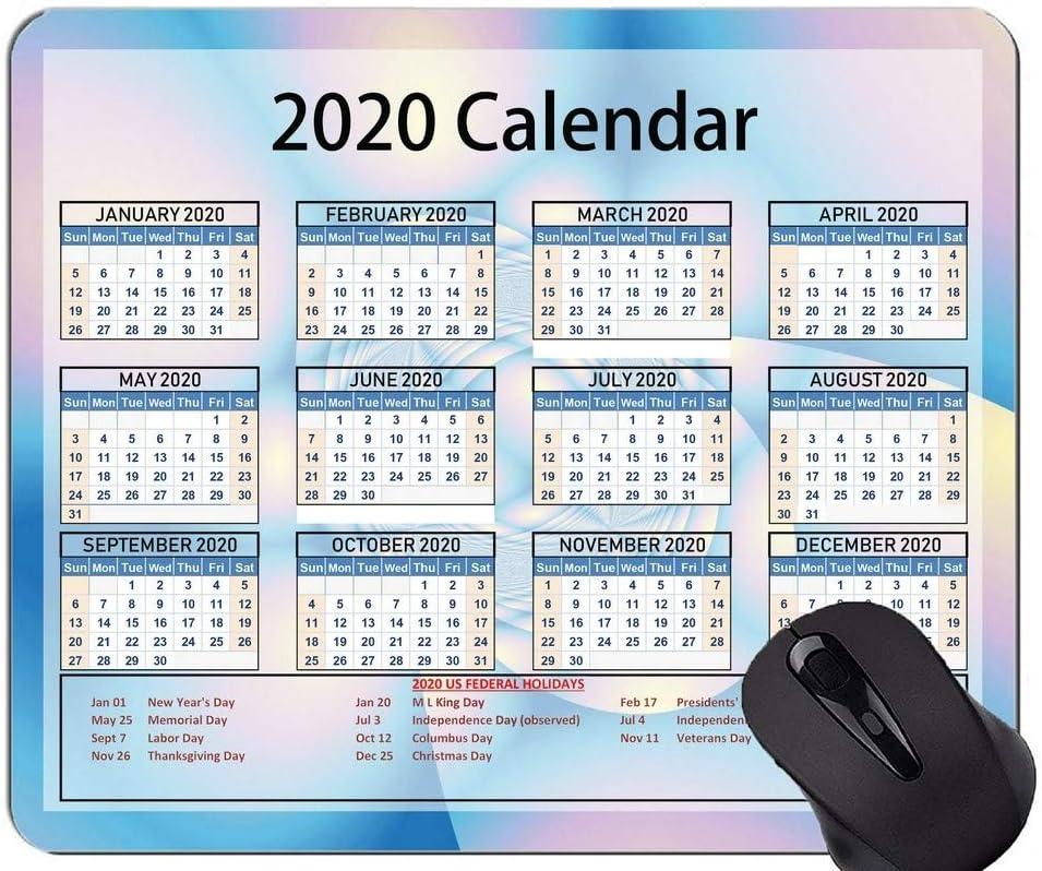 Calendario 2020 Año Alfombrilla de ratón Original Personalizada, Alfombrilla de ratón con Tema de Anillo Central con Borde Cosido