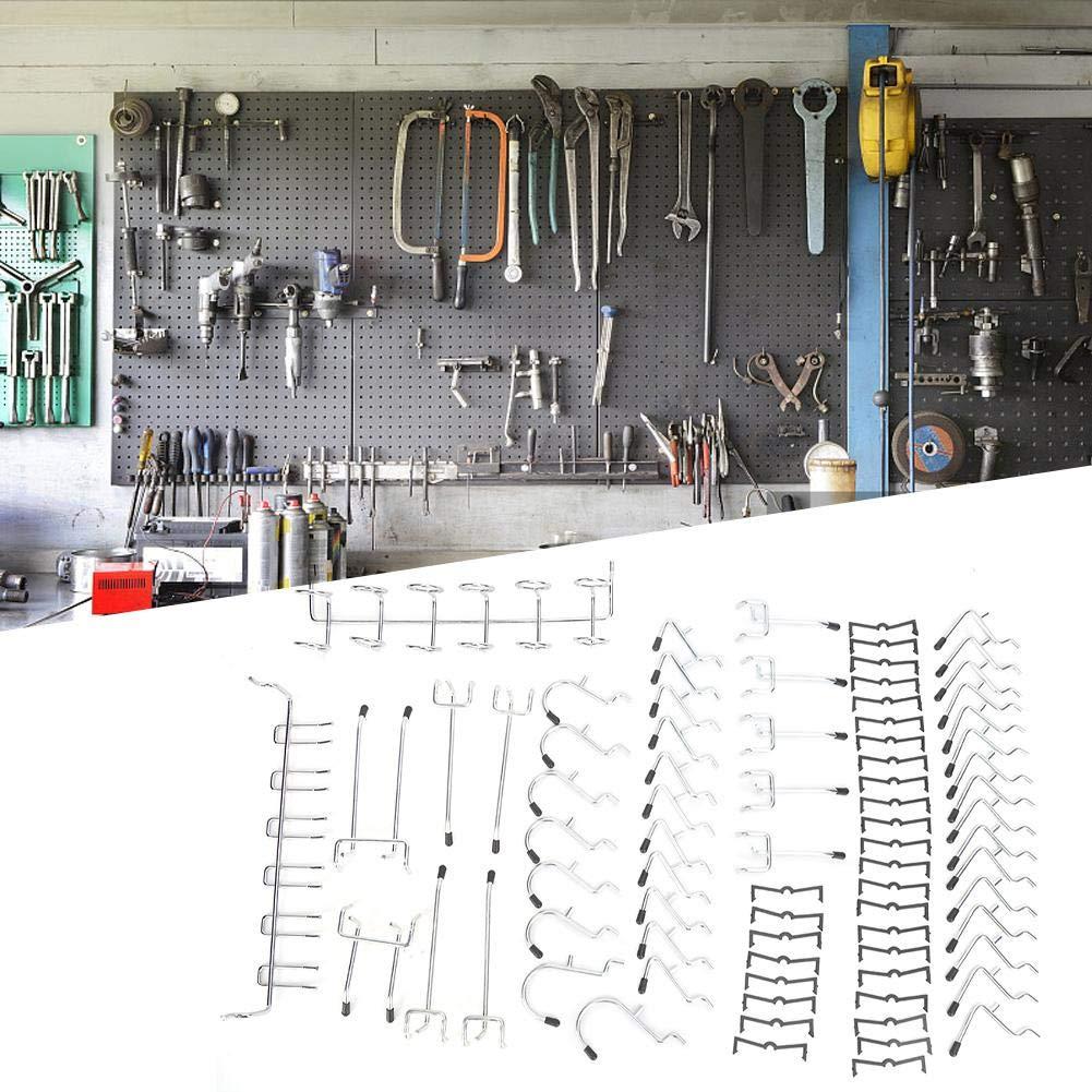80 Piezas Ganchos de Almacenamiento para Herramientas Ganchos de Colgador para Estanter/ía Ganchos de Tablero Perforado para Taller Organizador de Garaje