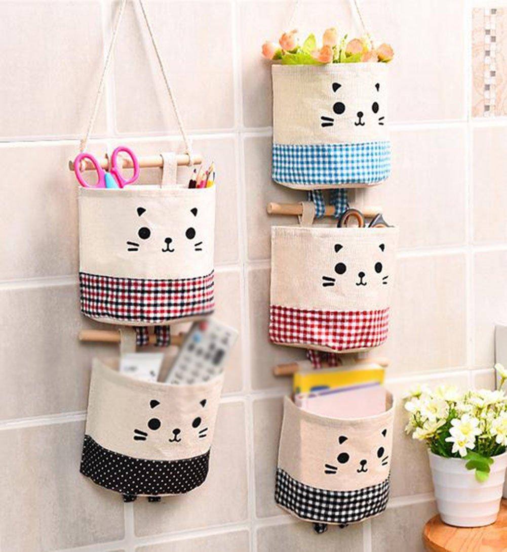 Black Vikenner Hanging Storage Bag Case Cotton Linen Waterproof Wall Door Closet Organiser with Single Pockets for Gadget Makeup Toys