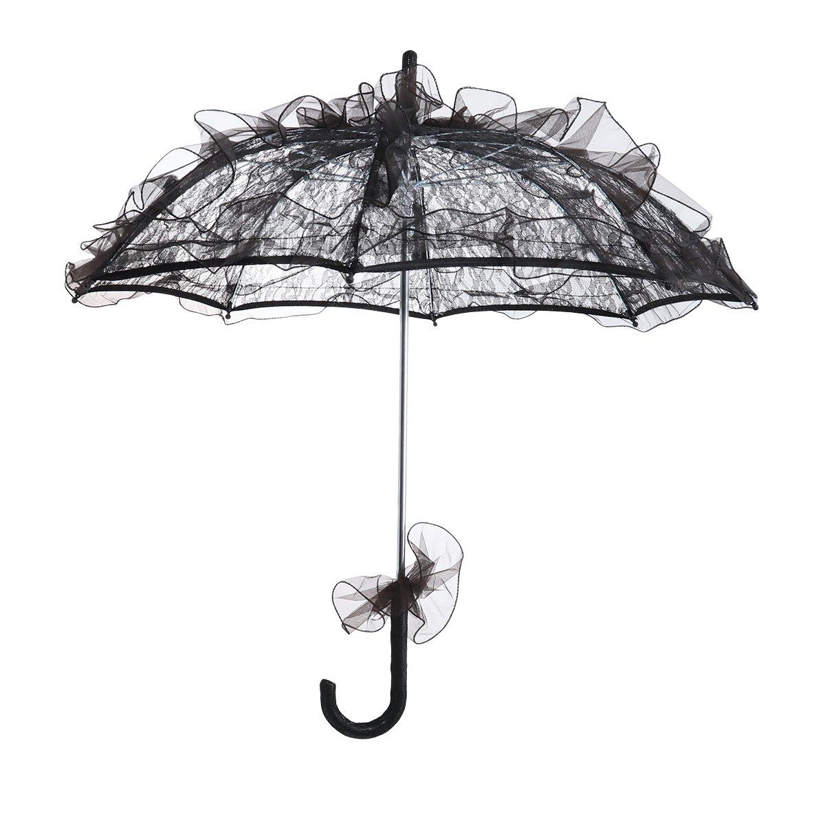 BESTOYARD Stylish Western Style Umbrella Lace Fleur Parasol Decoration Wedding Bride Umbrella - Size Small (Black)
