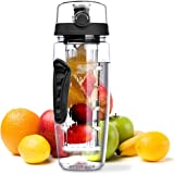OMorc 32oz/900ml Sport Fruit Infuser Water Bottle, Toxin-Free, Shatter-Resistant and Impact-Resistant with Cleaning Brush, Ideal for Your Office and Home