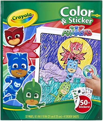 Amazon.com: Crayola PJ Masks Coloring Pages And Stickers, 32 Pages, Gift  For Kids, Ages 3, 4, 5, 6: Toys & Games