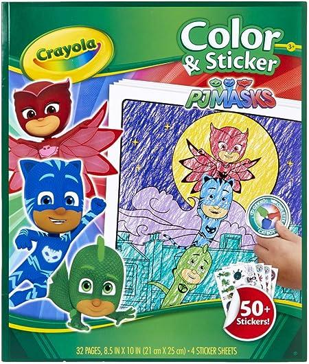 Crayola PJ Máscaras para colorear páginas y pegatinas, 96 páginas, regalo para niños, edades 3, 4, 5, 6