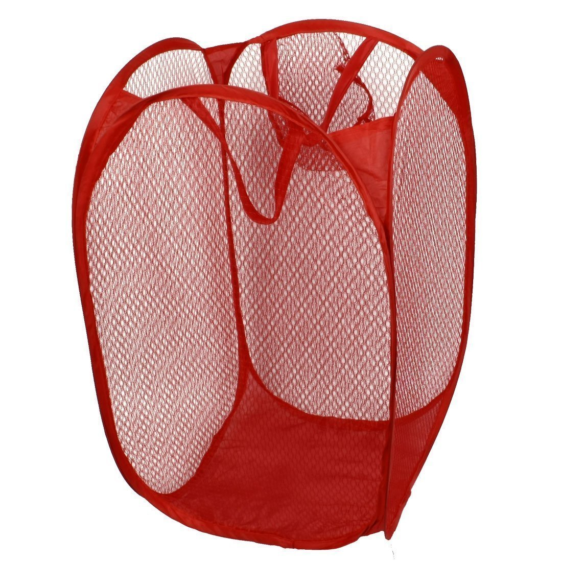 Dirty Clothes Basket - SODIAL(R) Household Dirty Clothes Laundry Folding Mesh Bag Basket Holder Red AEQW-WER-AW137849