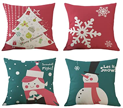 bluettek christmas pillow covers set of 4 printed snowmanchristmas tree red snowflake - Christmas Decorative Pillow Covers