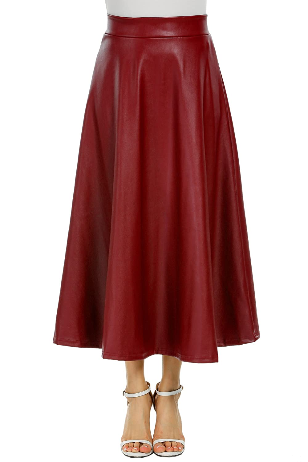 ELESOL Women's Pleated High Waist Faux Leather Skirts Swing A-Line Maxi Skirt EL002248