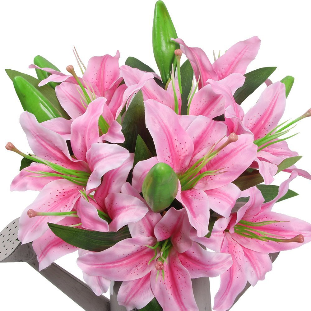 Amazon.com: AmyHomie Artificial Flowers, Artificial Lily, Fake ...