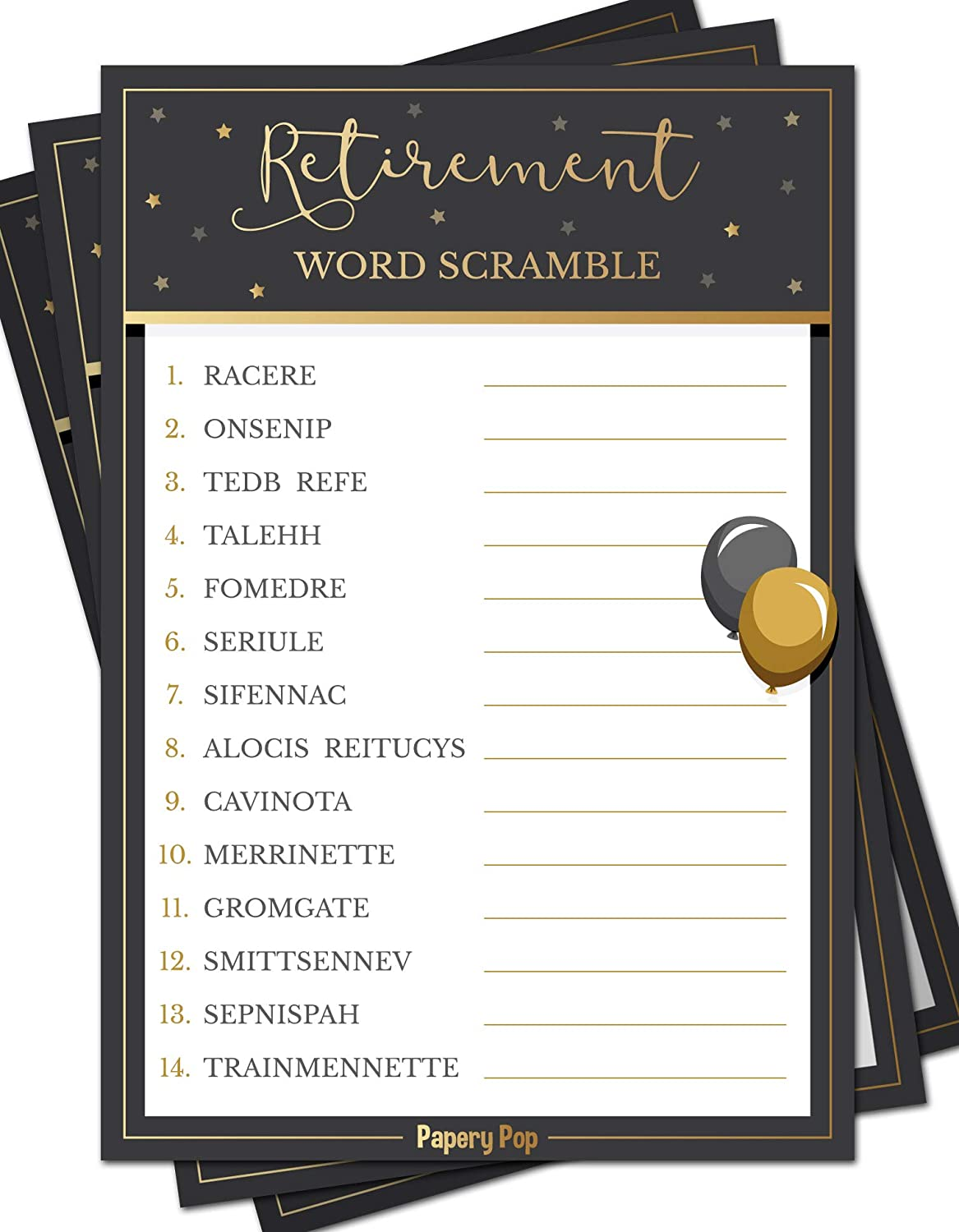 50 Pack - Retirement Party Games Ideas Activities Supplies Retirement Party Word Scramble Game Cards Job Work Retiree Celebration