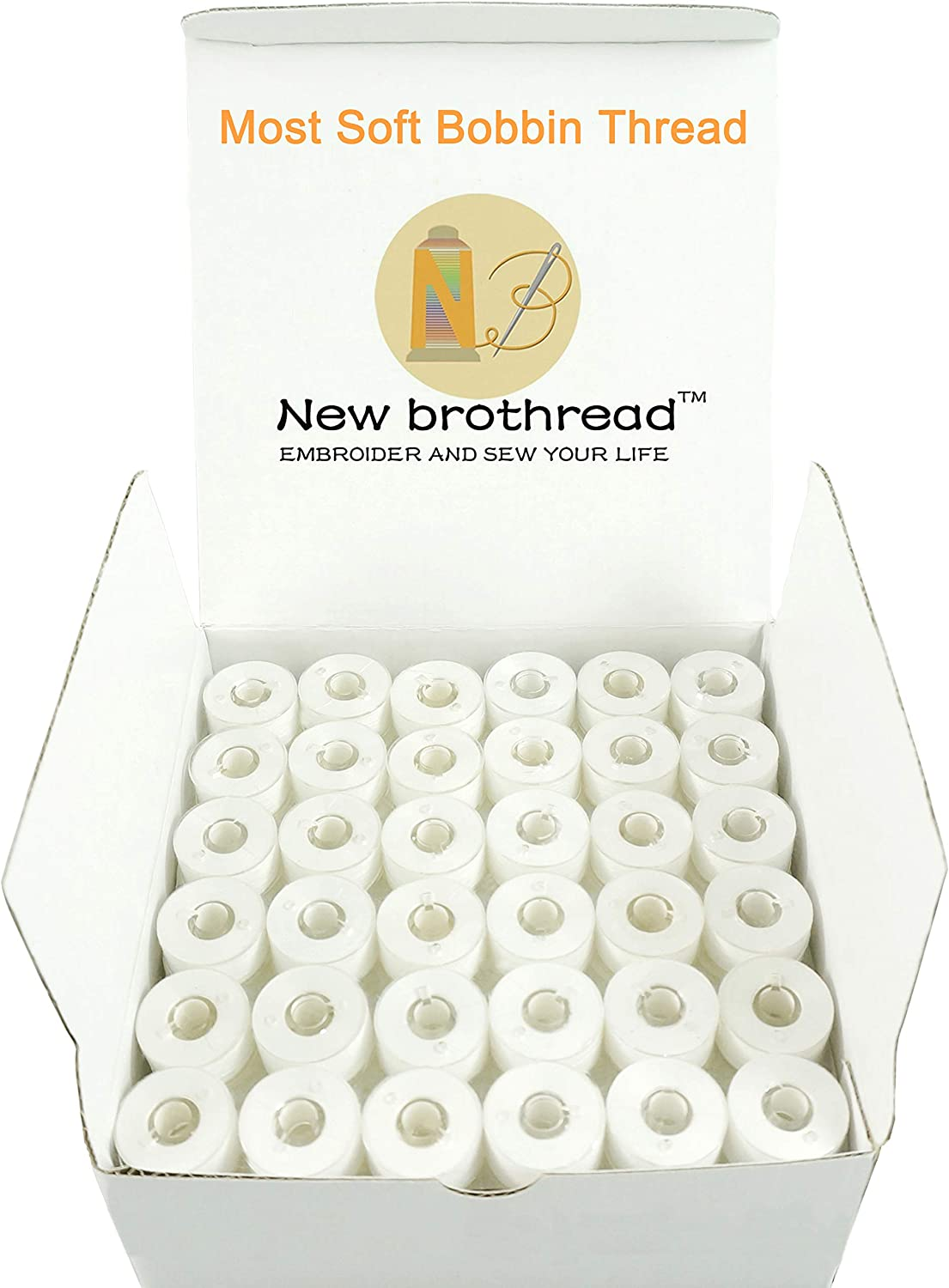 Prewound Bobbin Thread Plastic Size A SA156 for Embroidery and Sewing Machine Polyester Embroidery Thread Sewing Thread New brothread 144pcs White 60S//2 90WT