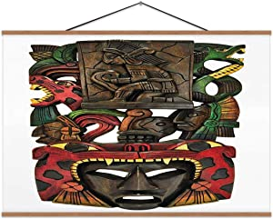 TinYida Mayan Hand Carved in Mexico Disguise,Magnet Print Poster Mayan for Home 12X8In
