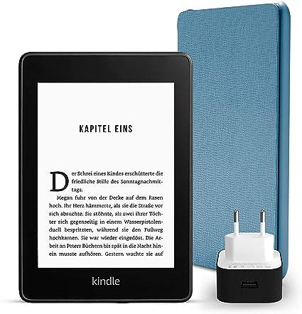 Kindle Paperwhite Essentials Bundle Mit Einem Kindle Paperwhite 8 Gb Wlan Mit Spezialangeboten Einer Amazon Lederhülle Dunkelblau Und Einem Amazon Powerfast 9 W Ladegerät Amazon Devices