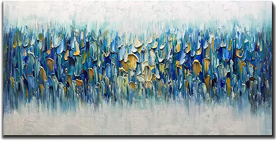Blue Home Decor Wall Art Blue and Black Abstract Art Oil Painting