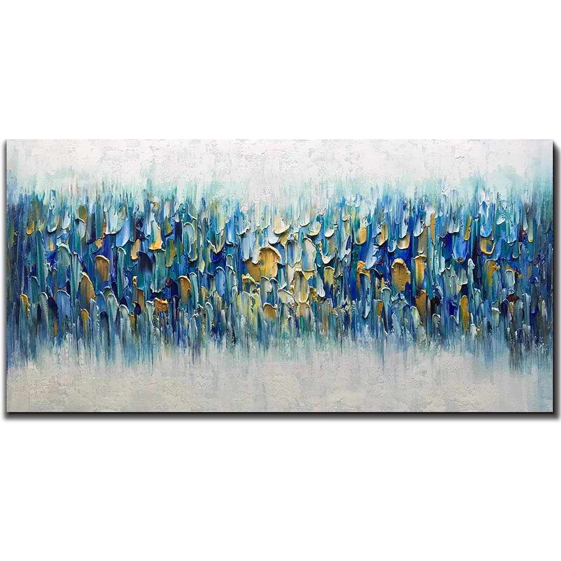 AMEI Art Paintings,24x48Inch 3D Hand Painted on Canvas Blue Rhapsody Abstract Paintings Seascape Artwork Simple Modern Home Decor Wall Art Stretched and Framed Ready to Hang