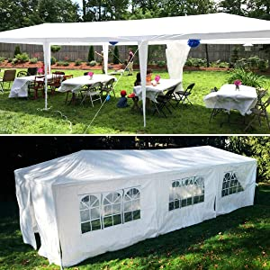 Heavy Duty Outdoor Canopy, 10x30 ft Party Gazebo Wedding Tent Storage Shelter Pavilion Cater Waterproof UV-Proof Grill Gazebo for BBQ Beach Event with 8 Removable Sidewalls & 2 Zipped Doors- White