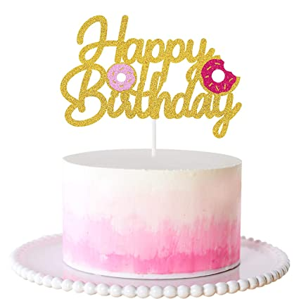 Outstanding Amazon Com Pink Donut Happy Birthday Cake Topper Glitter Party Funny Birthday Cards Online Benoljebrpdamsfinfo