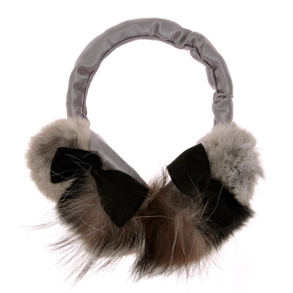 ZLYC Women Fashion Luxurious Rex Rabbit Fur Adjustable Earmuffs Bowknot Earwarmer, Gray