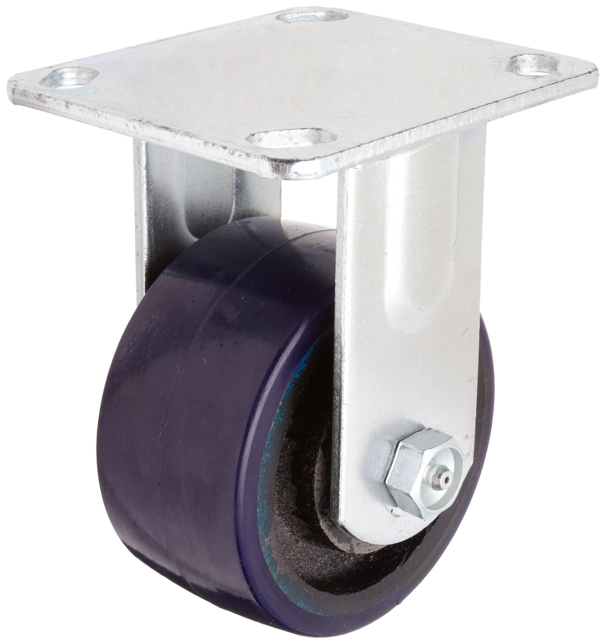 RWM Casters Freedom 48 Series Plate Caster, Rigid, Urethane on Aluminum Wheel, Roller Bearing, 700 lbs Capacity, 4'' Wheel Dia, 2'' Wheel Width, 5-5/8'' Mount Height, 4-1/2'' Plate Length, 4'' Plate Width