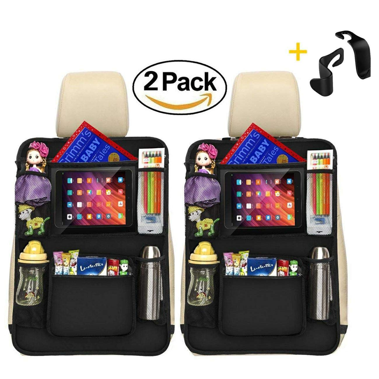 Luxury Kick Mats,Premium Car Back Seat Protector Organizer with Tablet Holder for Ipad & Android Tablets up to 10.5