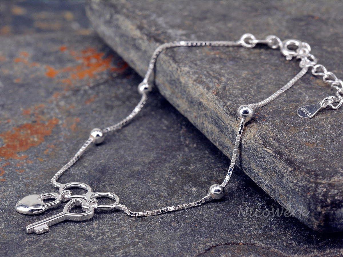 Nico de plata pulsera Llave y candado corazón amor plata 925 Pulsera De Cadena Mujer Joyas regalo sab133: Amazon.es: Joyería