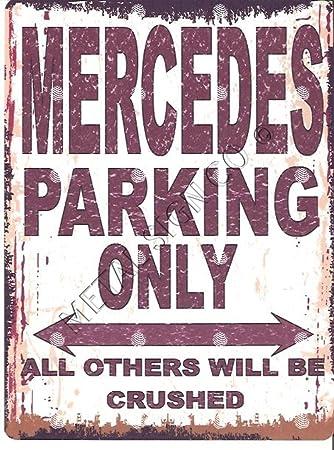 """Vintage-Stil Kleines Parkplatz-Schild /""""Mercedes Parking Only/"""" 15 x 20 cm Wanddekoration f/ür Garage Autowerkstatt f/ür klassische Autos evtl. nicht in deutscher Sprache"""