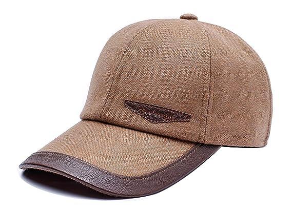 05a637ef1ae7d9 FENGFA Baseballcap mit Ohrenklappen Herren Basecap Mütze Winterkappe  Schirmmütze (Beige): Amazon.de: Bekleidung