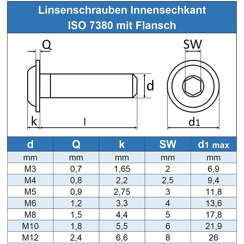 - ISO 7380 Linsenkopf Schrauben mit Flachkopf und Bund M6 x 30 mm Linsenkopfschrauben mit Innensechskant und Flansch Gewindeschrauben Edelstahl A2 V2A Eisenwaren2000 50 St/ück rostfrei