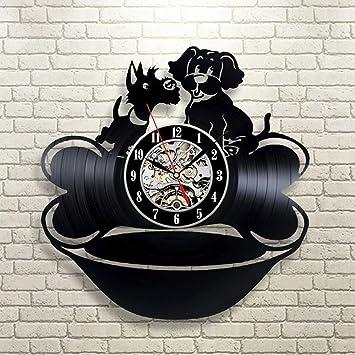 BiuTeFang Reloj de Vinilo Decoración Lindo Perro y Hueso Diseño Clásico CD Vinilo Reloj Decoración Creativa Registro Reloj Retro Hueco Pared Campana: ...
