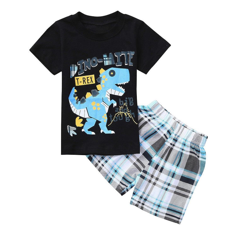8a7f47863 Conjuntos de Ropas Bebés Niños Niñas Camiseta de Letra Dinosaurio de  Dibujos Animados + Pantalones Enrejado