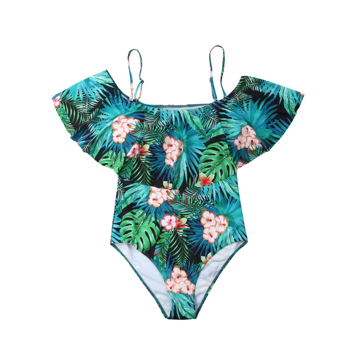 Mom and Daughter One-Piece Family Matching Swimwear Thin Shoulder Strip Ruffle Printed Swimsuit Set