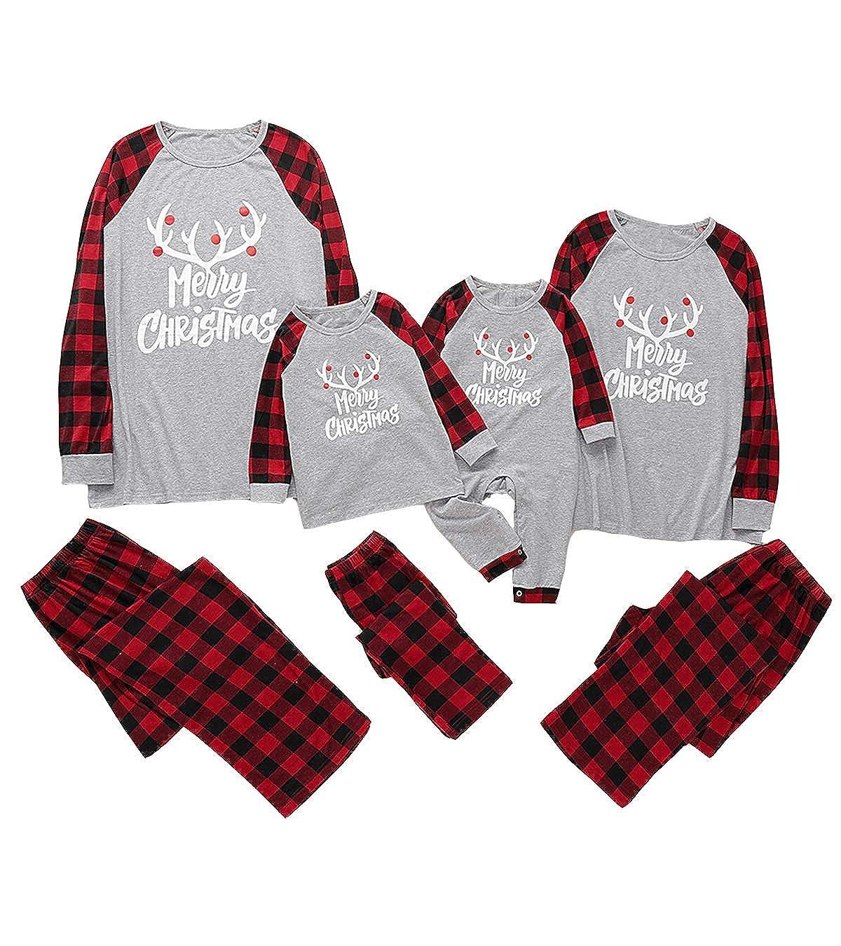 Happidoo Christmas Family Matching Pajamas Set Funny Deer Plaid Long Sleeve Tee and Pants Loungewear