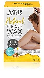 NAD'S Sugar Wax Hair removal waxing Kit for Face, Body, Back, Leg, Bikini Zone, Arm, Underarm Area, Women + men