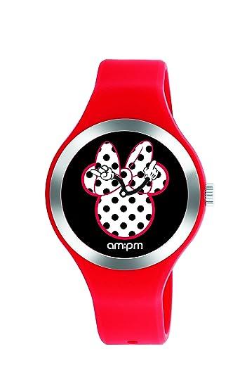 Disney Minnie Mouse reloj de la mujer por AM: PM dp155-u530 rojo correa de silicona: Amazon.es: Relojes