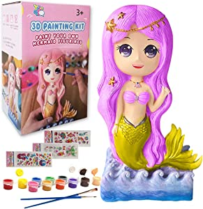 Yileqi Kids Crafts and Arts Mermaid Painting Kit, Party Favors Mermaid Toy Paint for Kids Crafts for Girls Ages 4 5 6 7 8 9 10 Years Old, Gifts for Girls Boys Non Ceramic Paint Set Birthday Gift