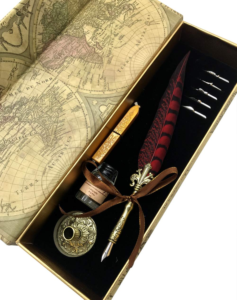 W.D Quill Antique Feather Writting Quill Pen Gold Pen Stem Calligraphy Pen Set | Best (Black+Red)