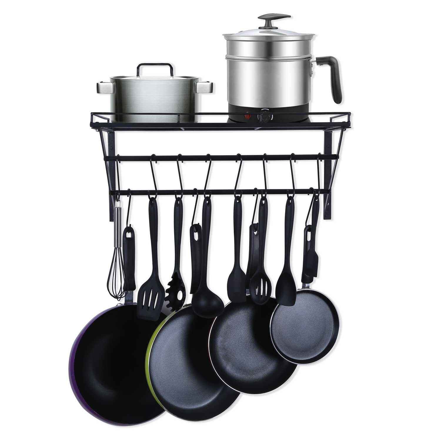 Oropy Wall Mount Hanging Pot Rack Steel Cookware Organizer with Storage Shelf 12 S Hooks included, Ideal for Pans, Utensils, Books, Plant