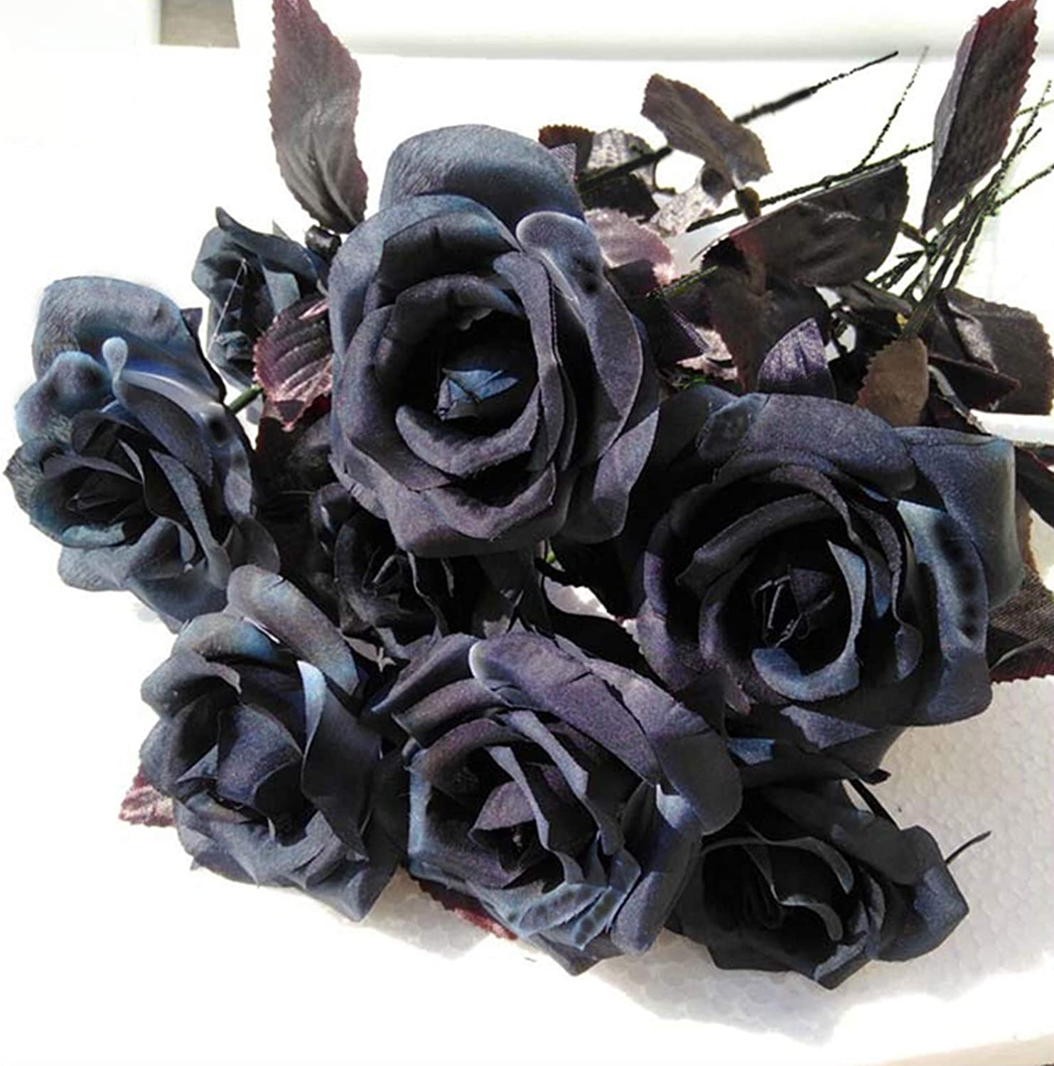 Amazon Com Fdqndxf Natural Artificial Flowers 10 Pcs Artificial Silk Black Rose Flower Fake Flower For Halloween Black Flower Home Diy Wedding Party Decoration Home Kitchen