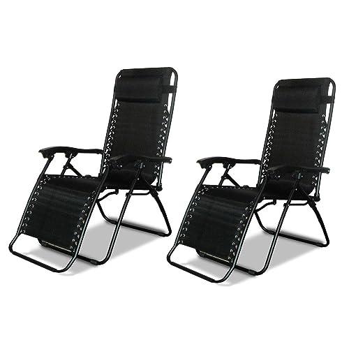 2 X DNY© Textoline Reclining Garden Chair Beach Sun Lounger Recliner Chairs  In Tweed Weatherproof